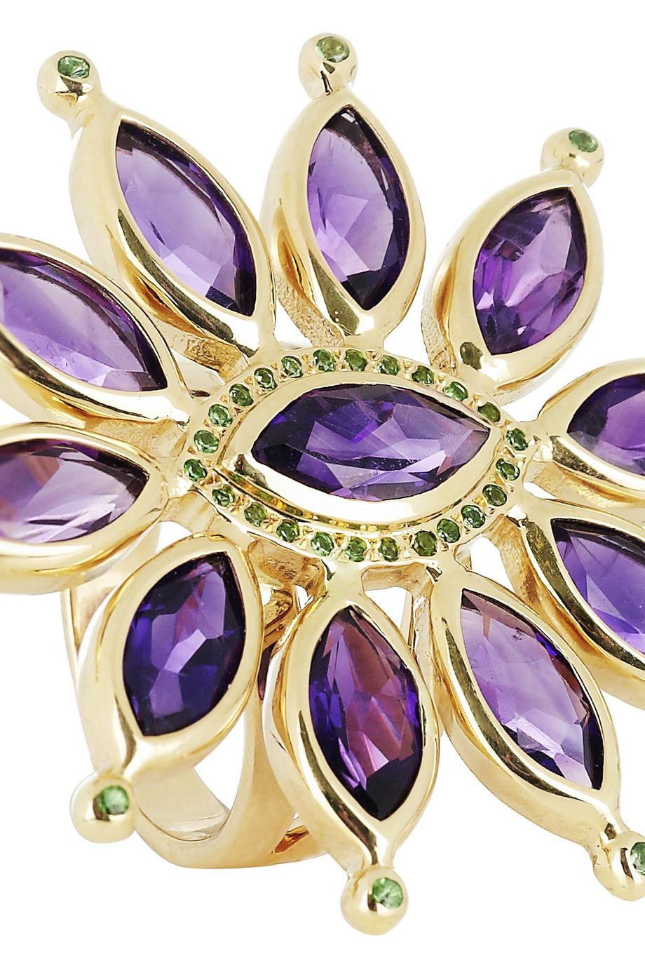 Ileana Makri Sea Flower 18-karat Gold, Amethyst And Tsavorite Ring in Purple