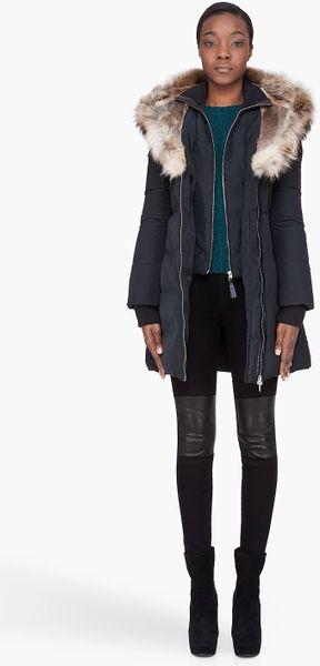 Mackage Black Hooded Furtrimmed Trish Coat In Black Lyst