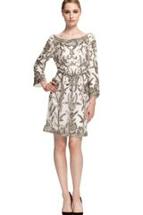 Marchesa Embroidered Sequin Tunic with Self Belt