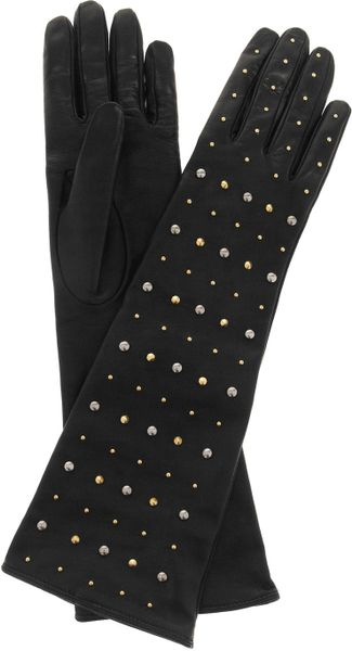 Miu Miu Studded Leather Gloves in Black