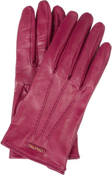 Miu Miu Leather Gloves in Purple (fuchsia)