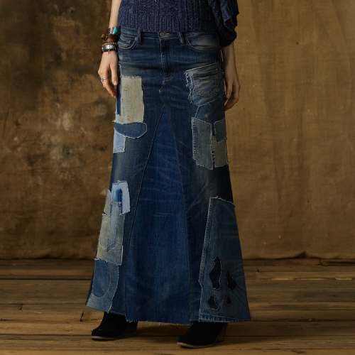 Ralph Lauren Patched Denim Maxi Skirt In Blue Biscayne