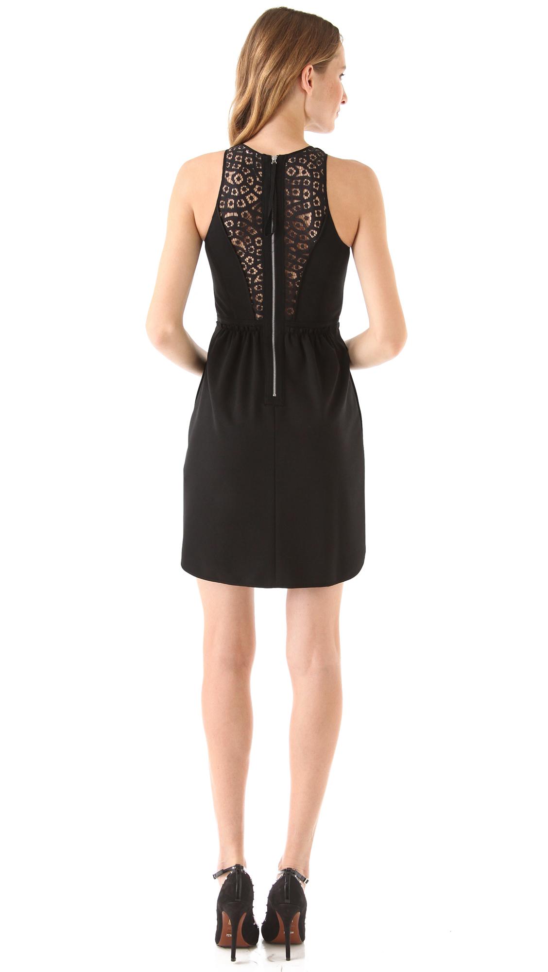 Rebecca Taylor Ponte Lace Dress In Black Lyst