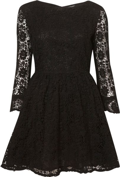 Topshop Crochet Lace Flippy Dress in Black