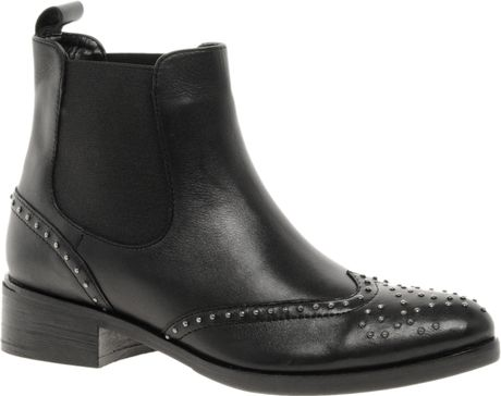 Asos Asos Autotune Studded Leather Ankle Boots in Black