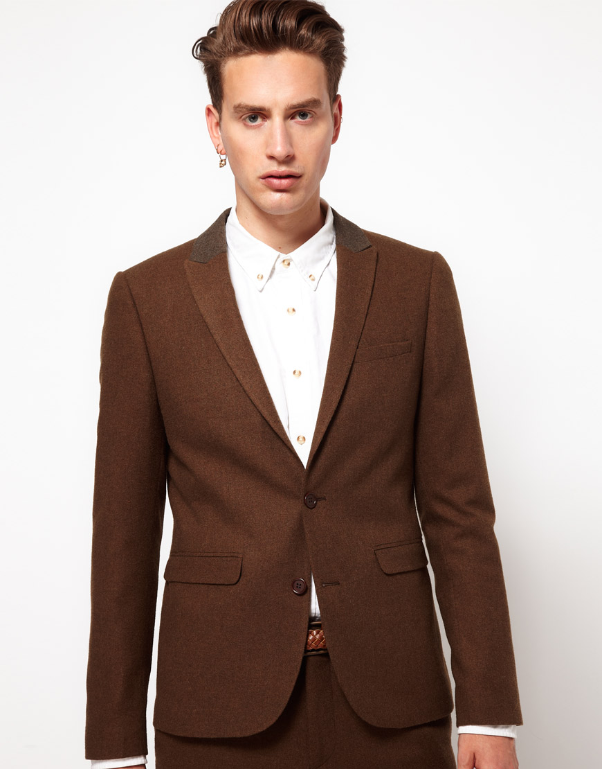 Asos Asos Skinny Fit Suit Jacket in Brown in Brown for Men | Lyst