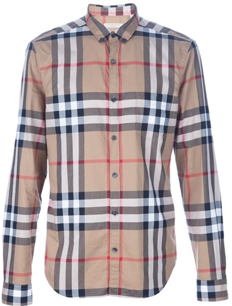 Burberry brit check shirt in beige for men brown lyst for Burberry brit checked shirt