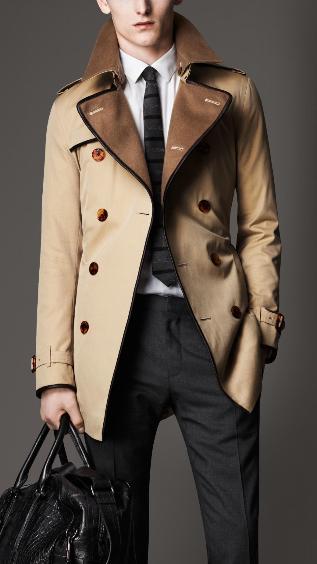 Burberry Midlength Wool Collar Cotton Gabardine Trench Coat in ...
