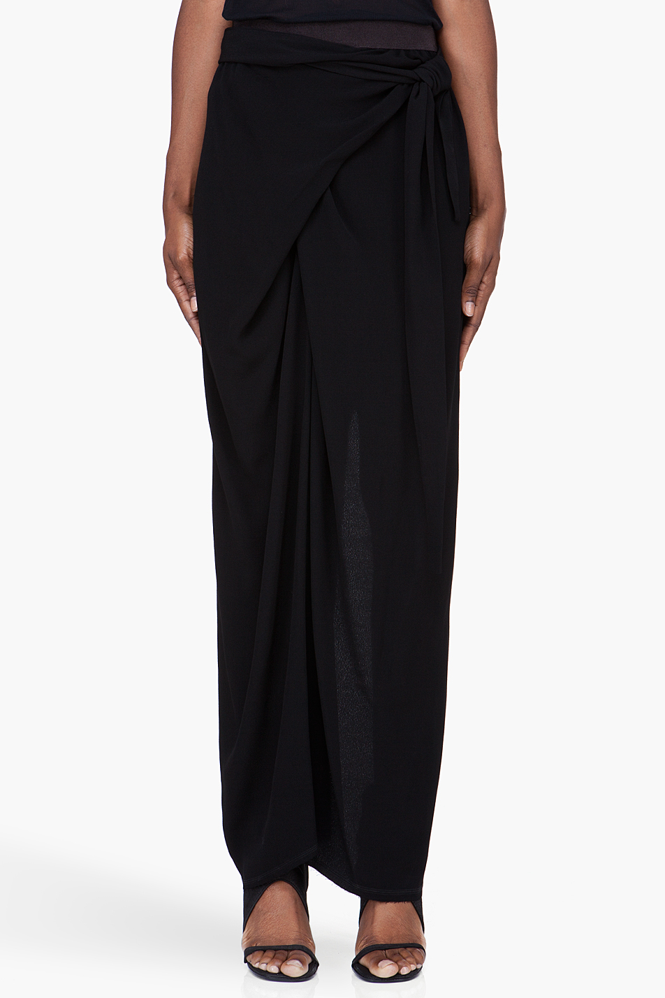 Damir doma Long Black Wrap Skirt in Black | Lyst