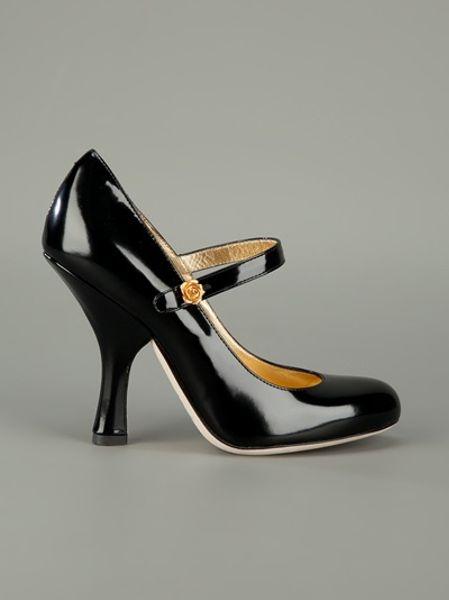 Dolce Amp Gabbana Strap Front High Heels In Black Lyst