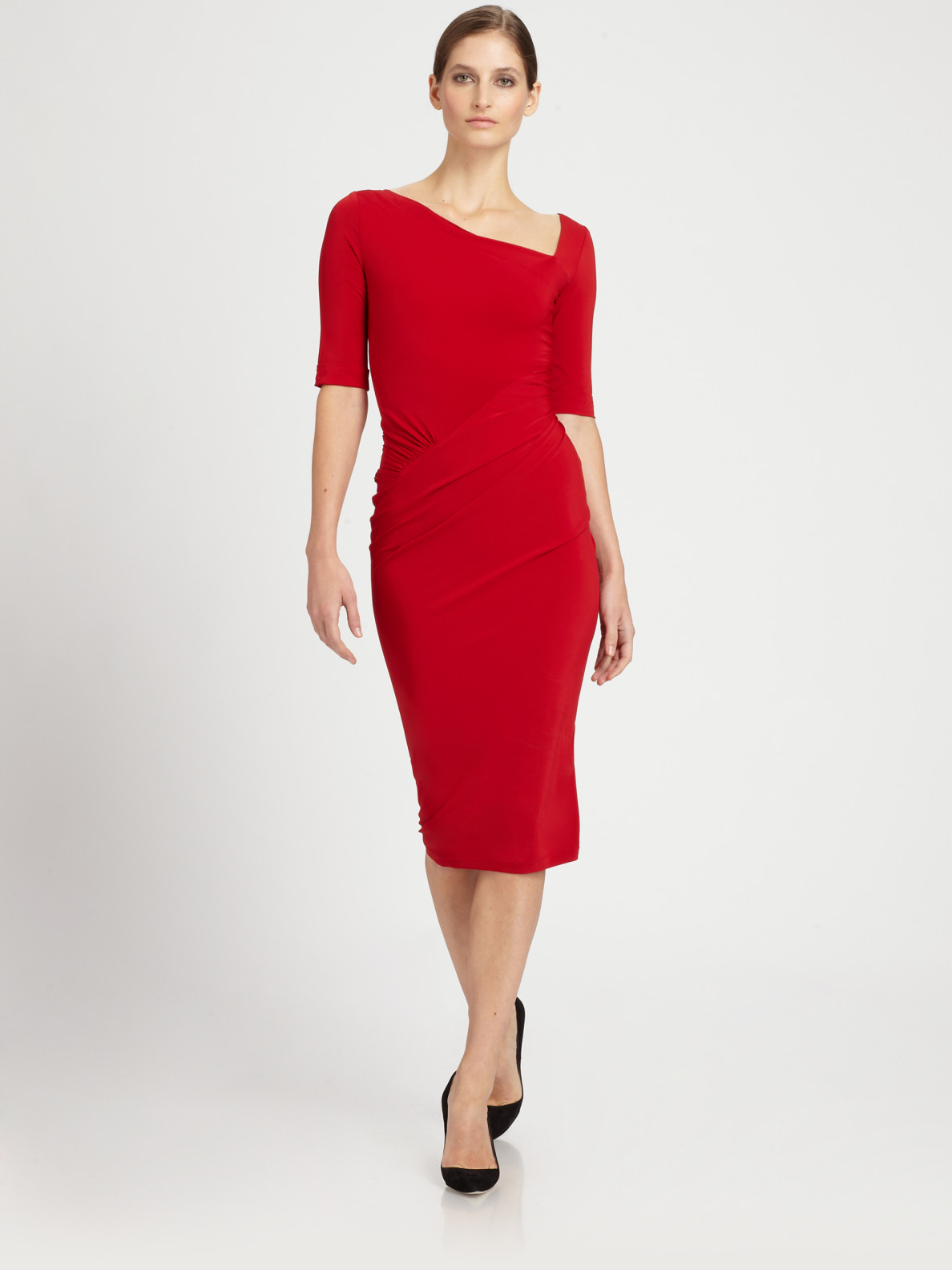 Donna karan new york superfine jersey dress in red lyst for Donna karen new york