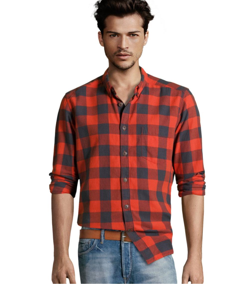 Lyst H Amp M Flannel Shirt In Orange For Men
