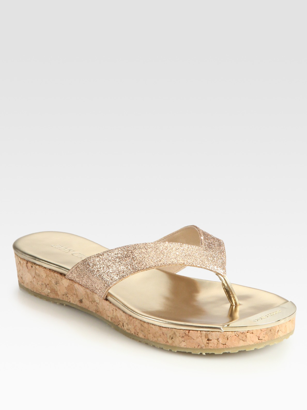 Lyst Jimmy Choo Pence Glitter Cork Wedge Sandals In Natural