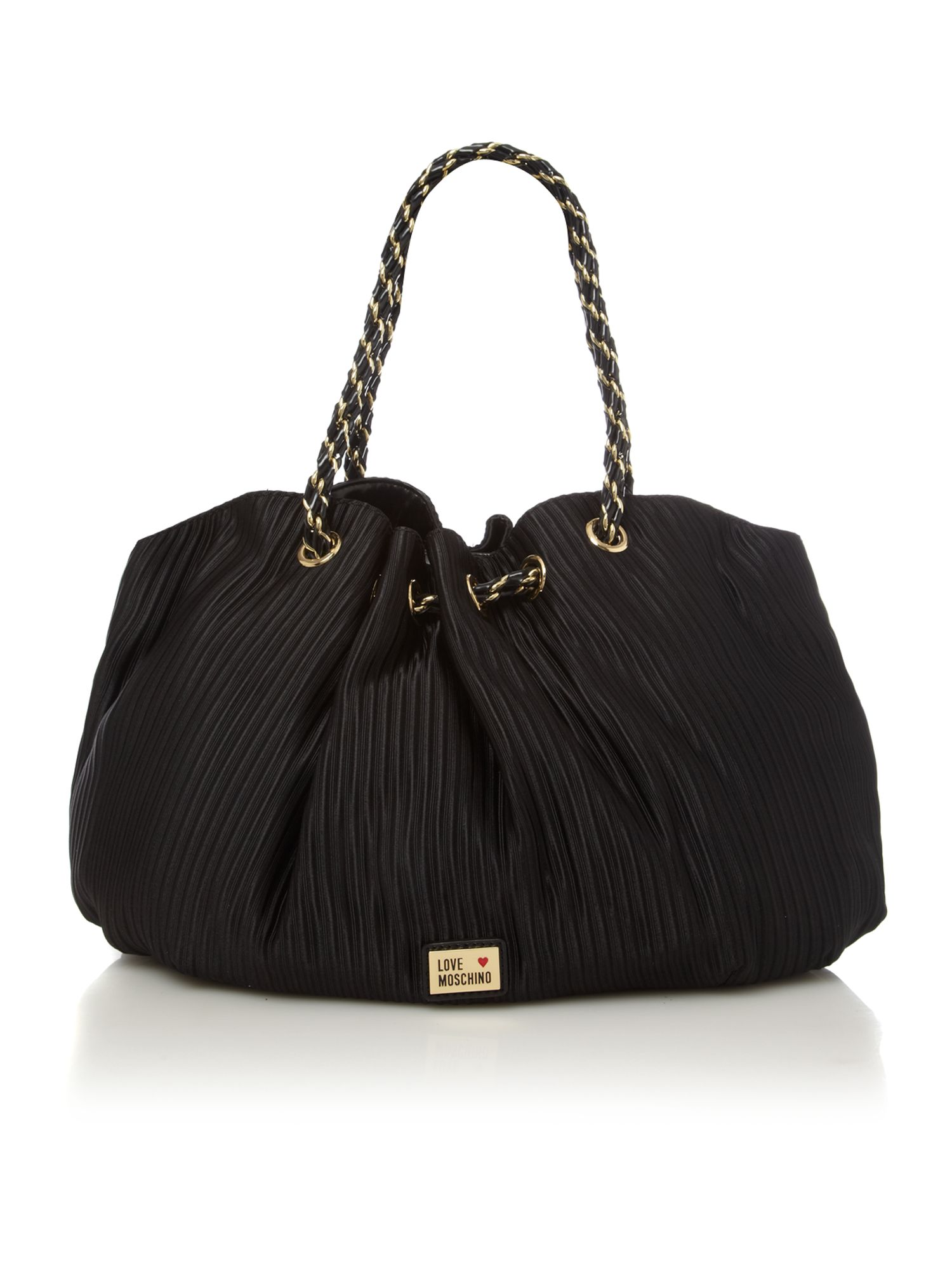 Love Moschino Otto Pleat Large Tote Bag in Black