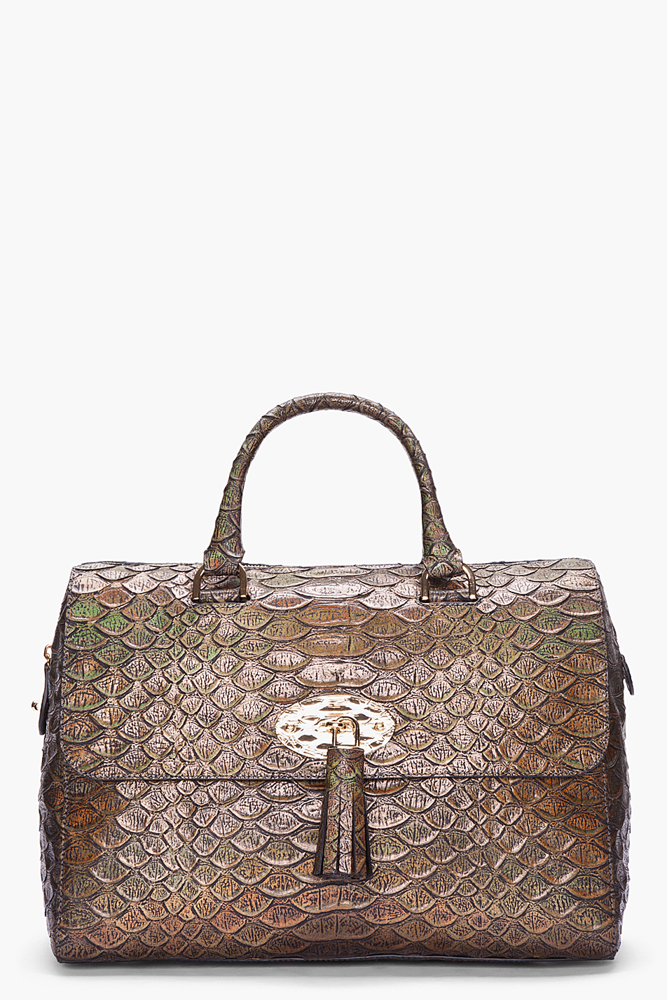 c75c0bdfb86d Lyst - Mulberry Large Metallic Snake Print Del Rey Tote in Brown