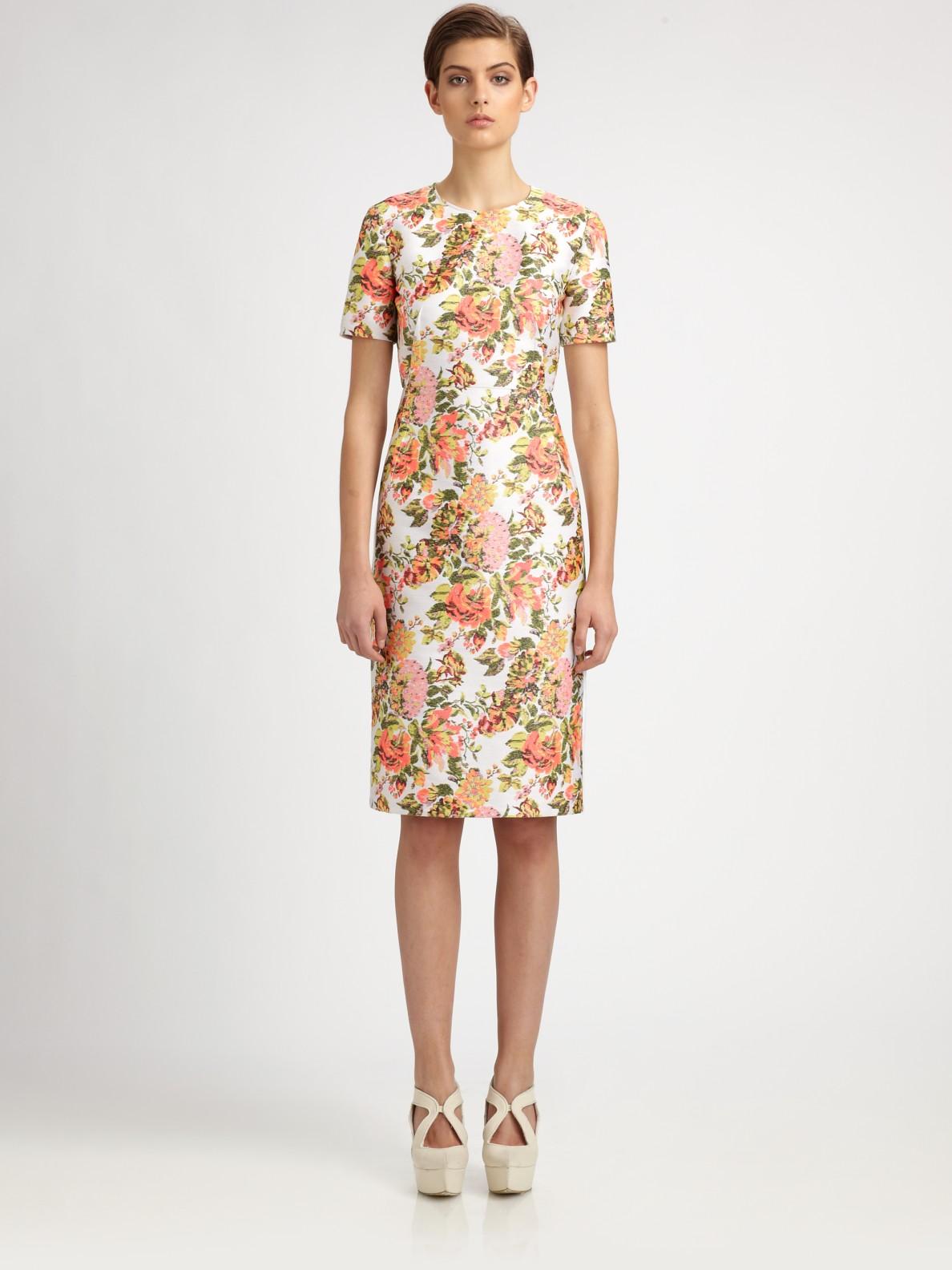 250cab7e6068 Lyst - Stella McCartney Floral Jacquard Dress in Pink