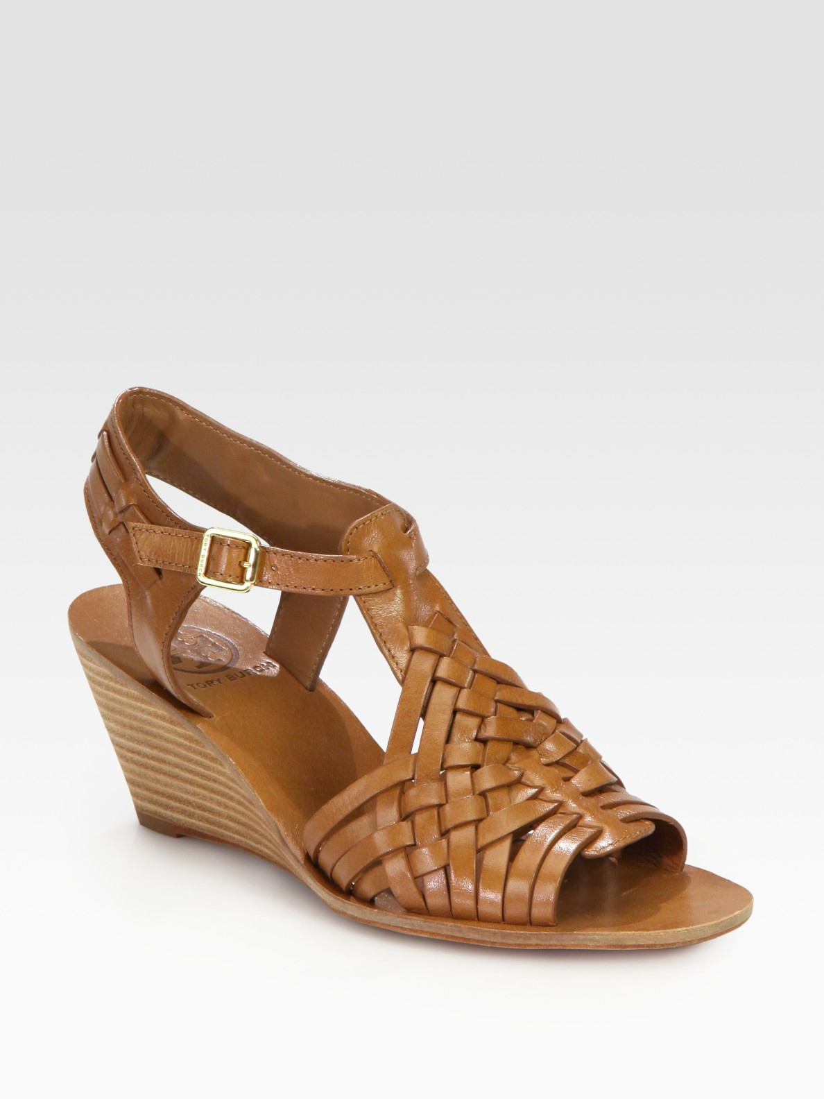 c04d9608ac05 Lyst - Tory Burch Nadia Leather Wedge Sandals in Brown