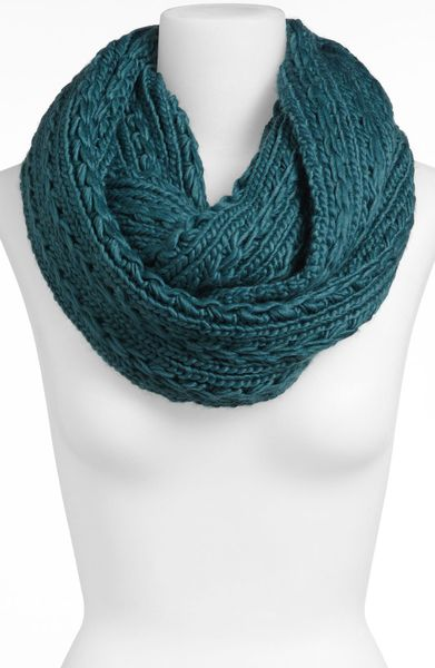 lulu cable knit infinity scarf in blue teal lyst