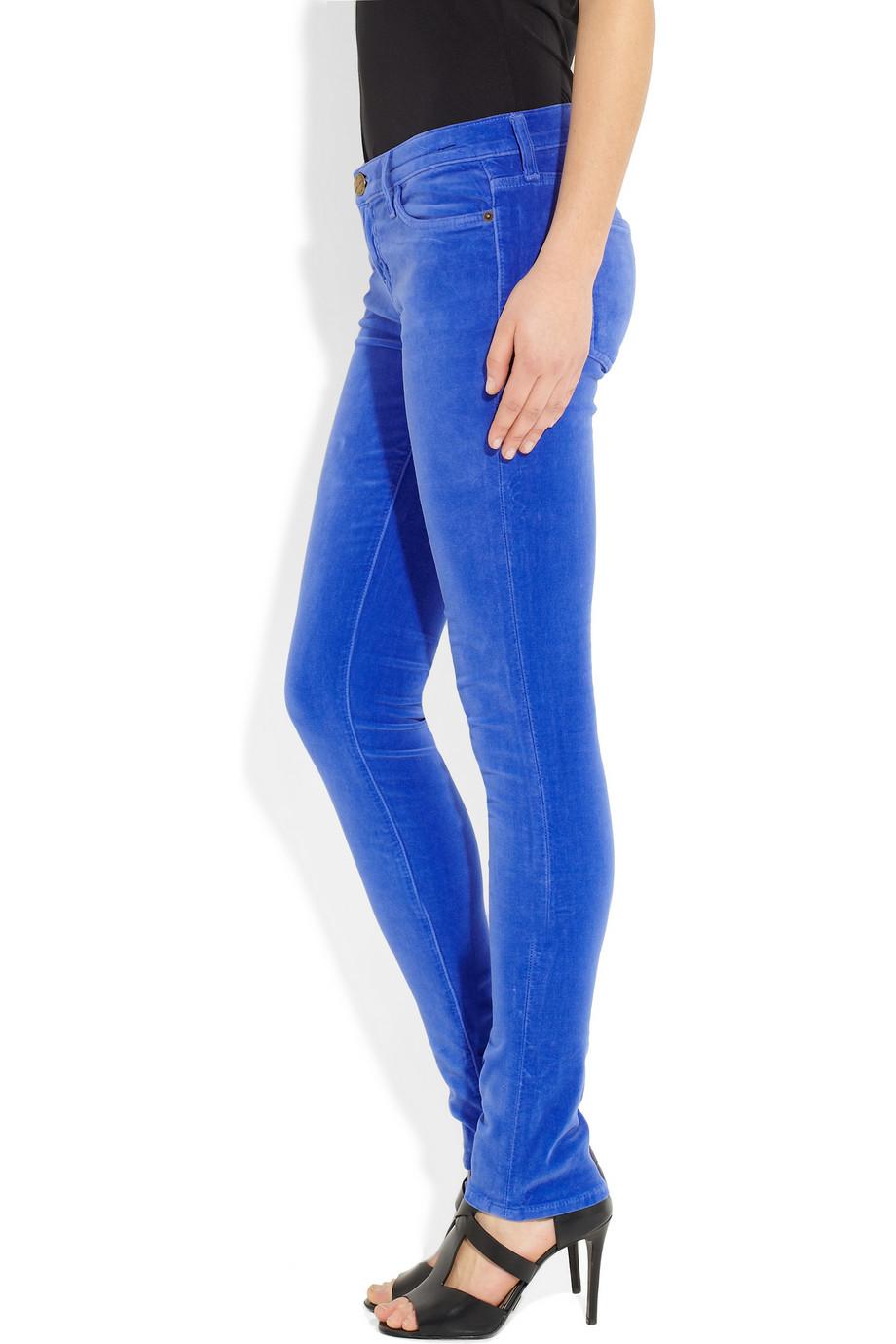 Current/Elliott The Skinny Velvet Low-Rise Jeans in Blue