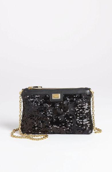 Dolce & Gabbana Miss Mini Sequin Crossbody Bag in Black