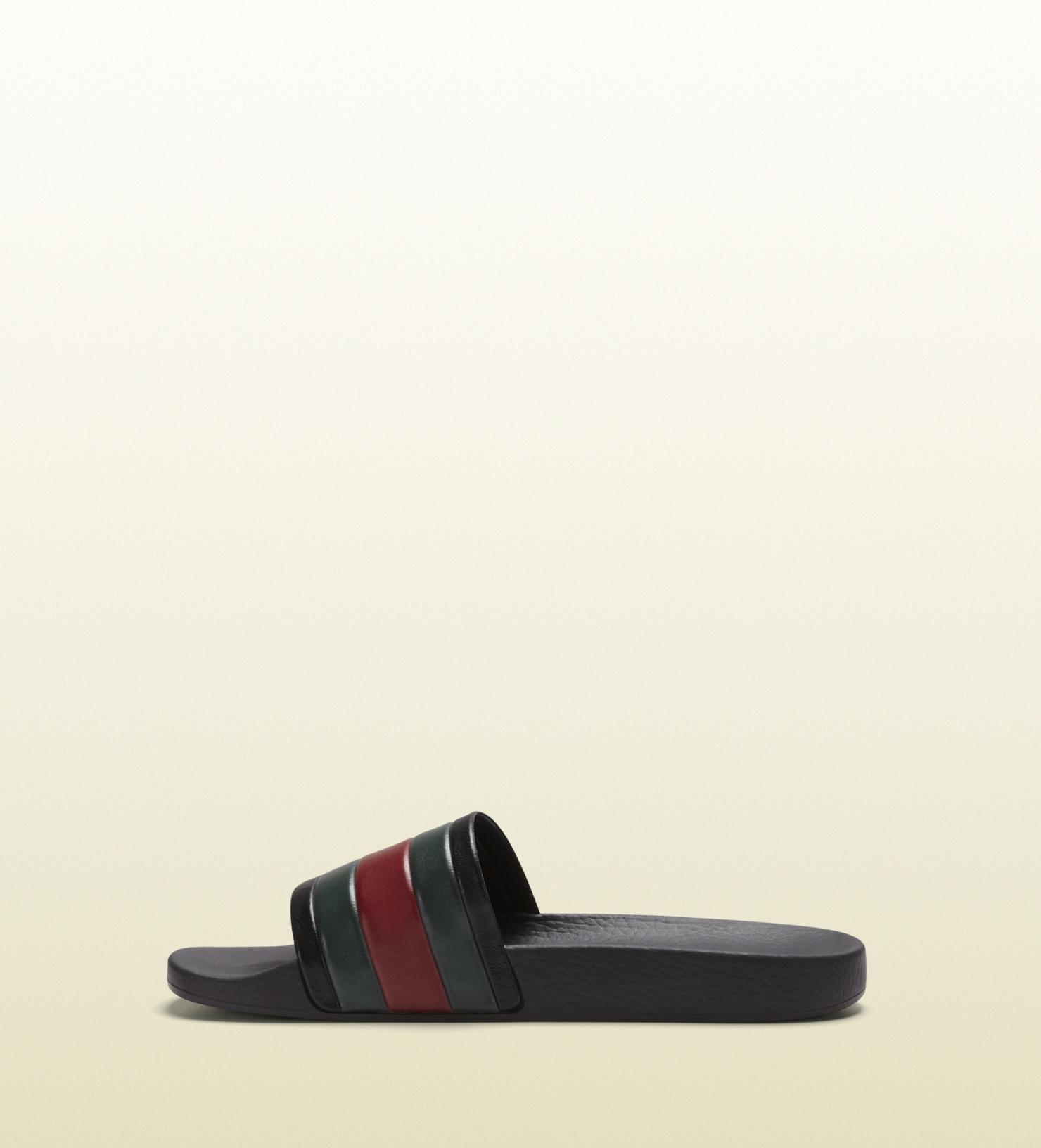 897b5289e9496 Gucci Logo Rubber Slide Sandal Black