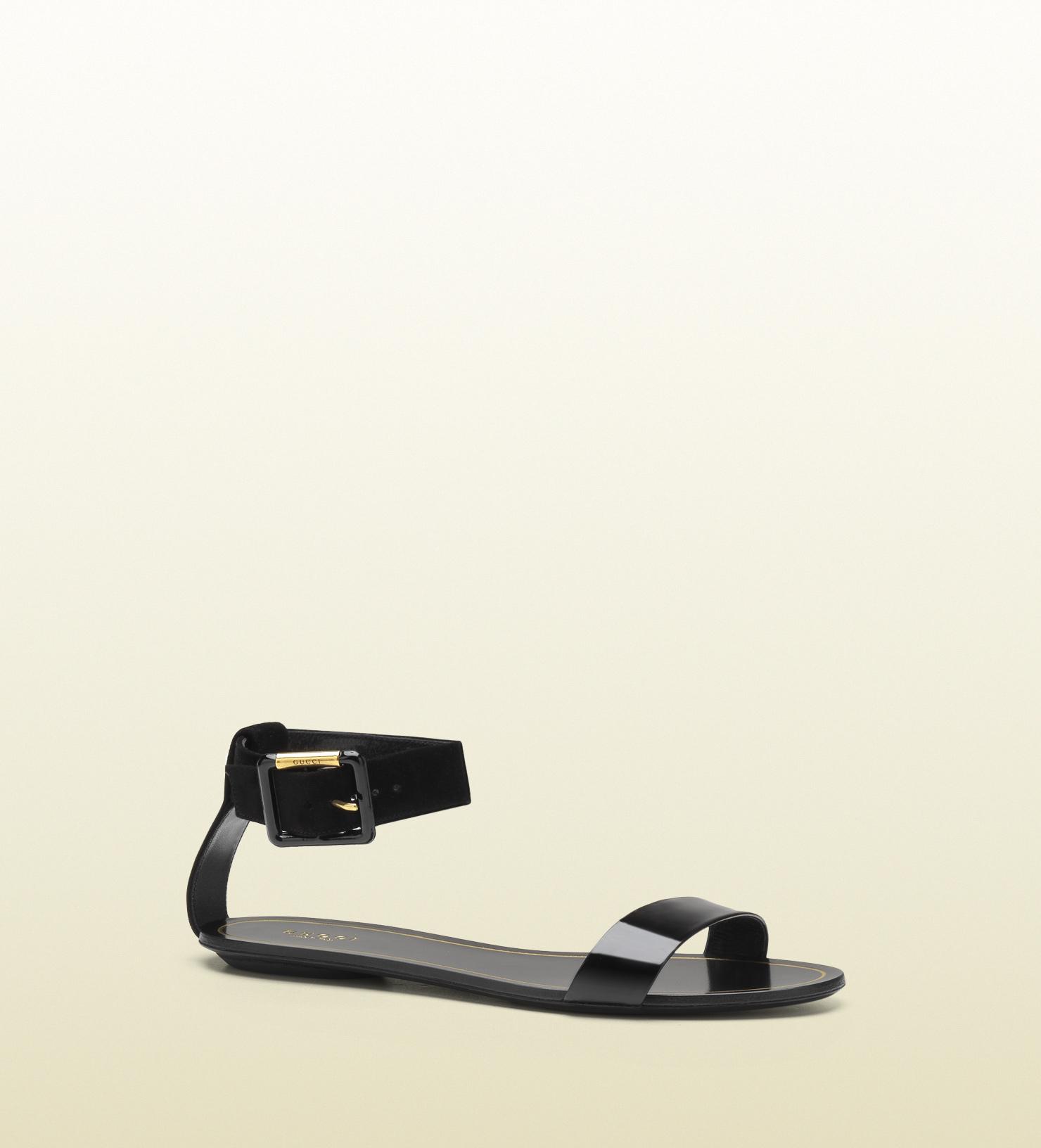 Lyst - Gucci Veronique Black Patent Leather Flat Ankle Strap Sandal ... 36c88d5b6