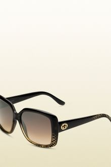 Gucci Womens Black Gold Rectangle Sunglasses - Lyst