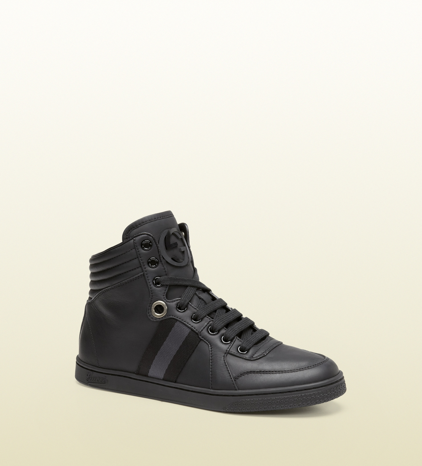 gucci women 39 s black leather high top sneaker from viaggio. Black Bedroom Furniture Sets. Home Design Ideas