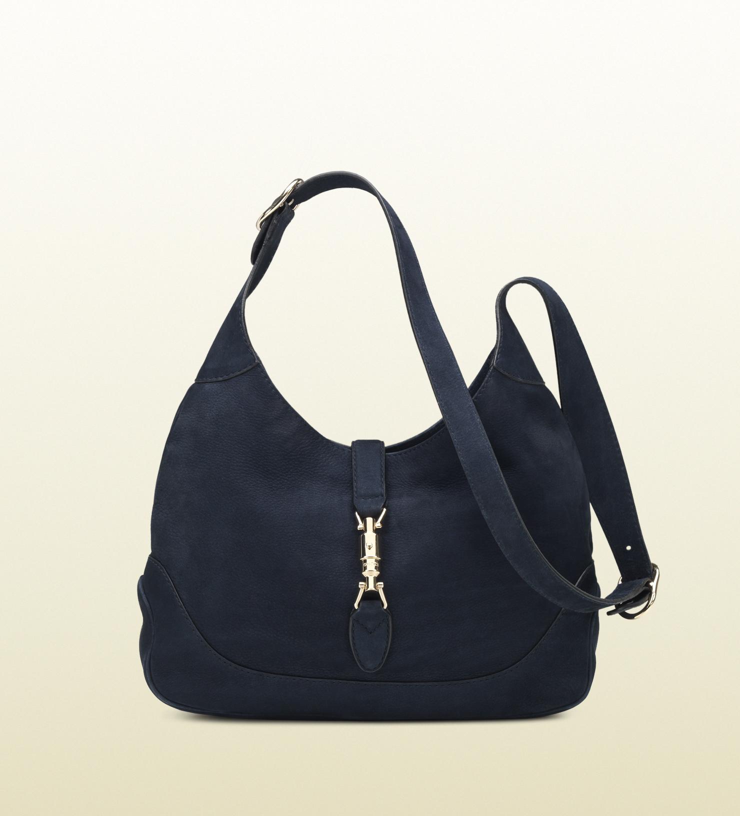 Gucci Jackie Blue Nubuck Leather Shoulder Bag in Blue