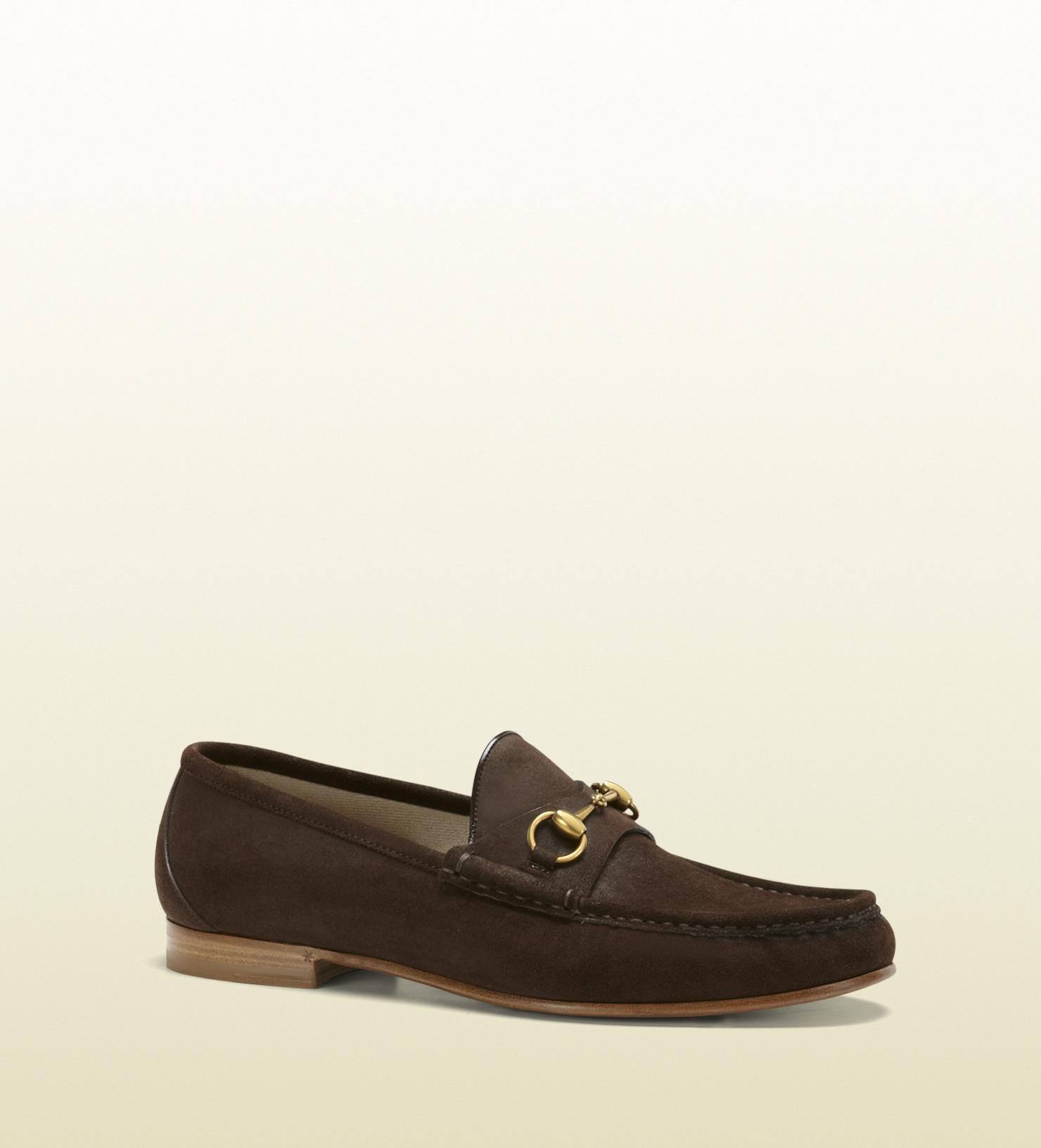 lyst gucci 1953 horsebit loafer in suede in brown for men. Black Bedroom Furniture Sets. Home Design Ideas
