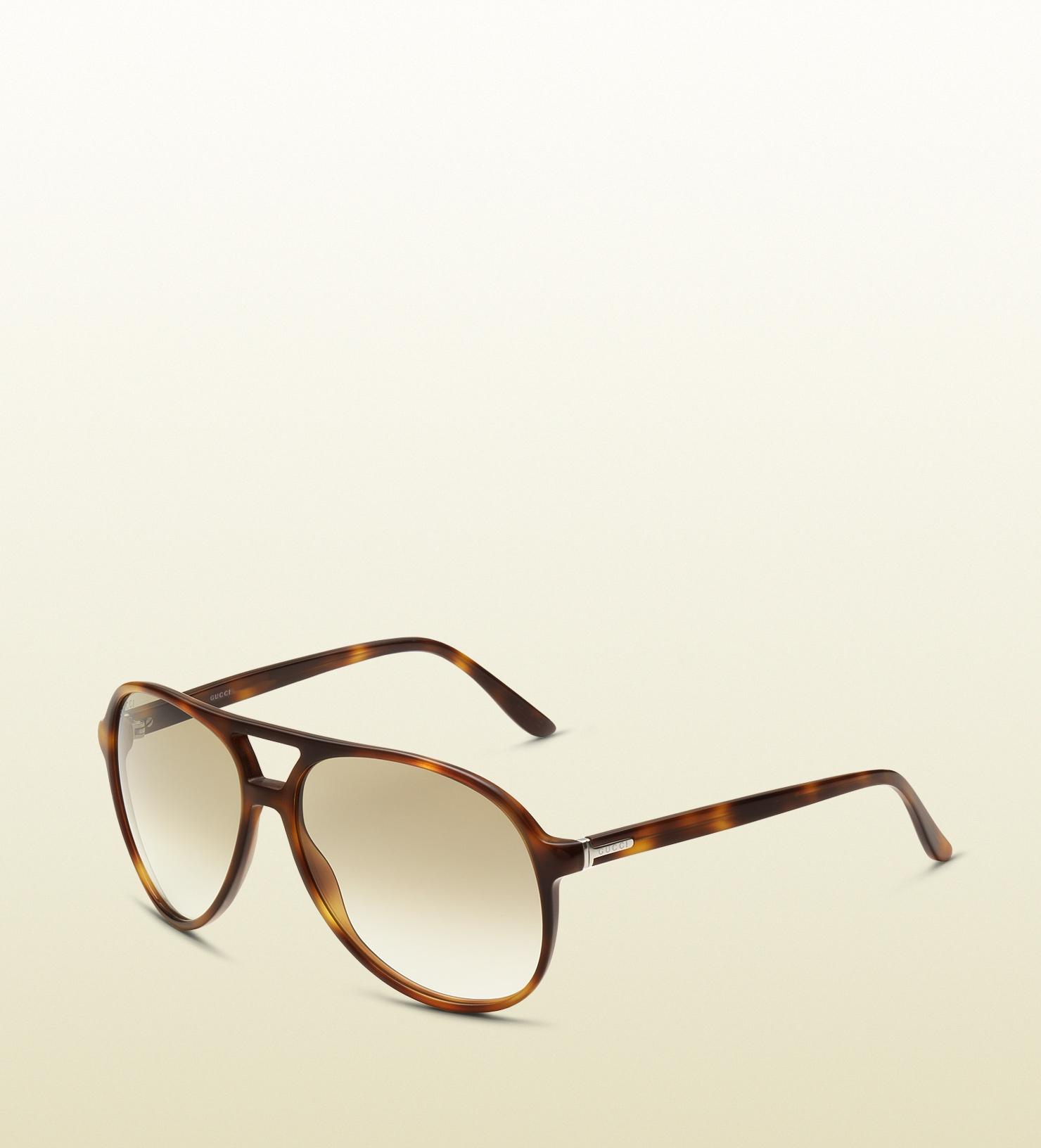 e9d77353c25 Lyst - Gucci Mens Light Havana Aviator Sunglasses in Brown for Men