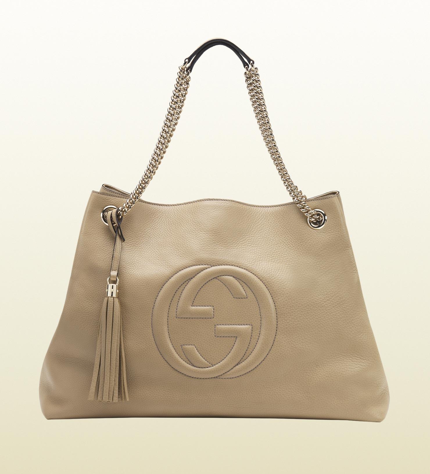 Gucci Soho Leather Shoulder Bag in Natural | Lyst