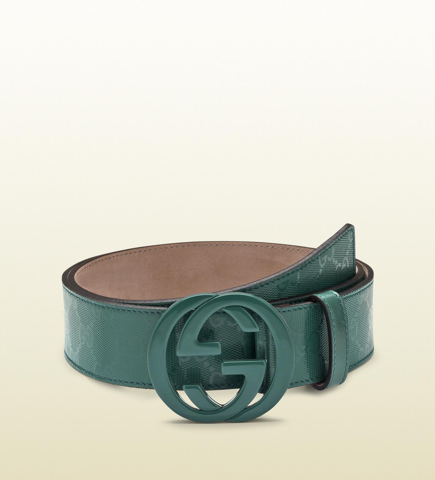 ca55ce618da Lyst - Gucci Dark Green Gg Imprimeé Belt with Interlocking G Buckle ...