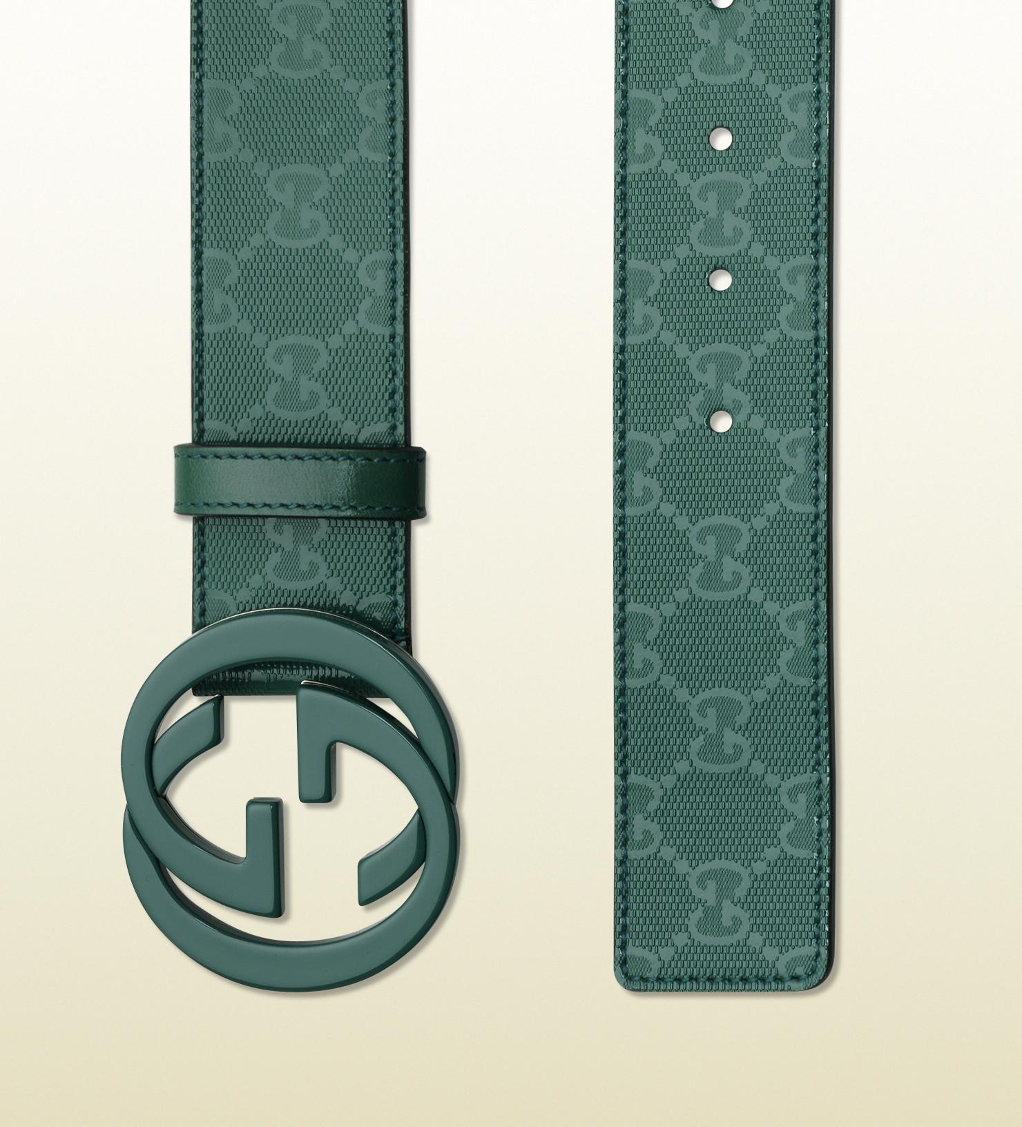 7c0bae364 Gucci Dark Green Gg Imprimeé Belt with Interlocking G Buckle in ...