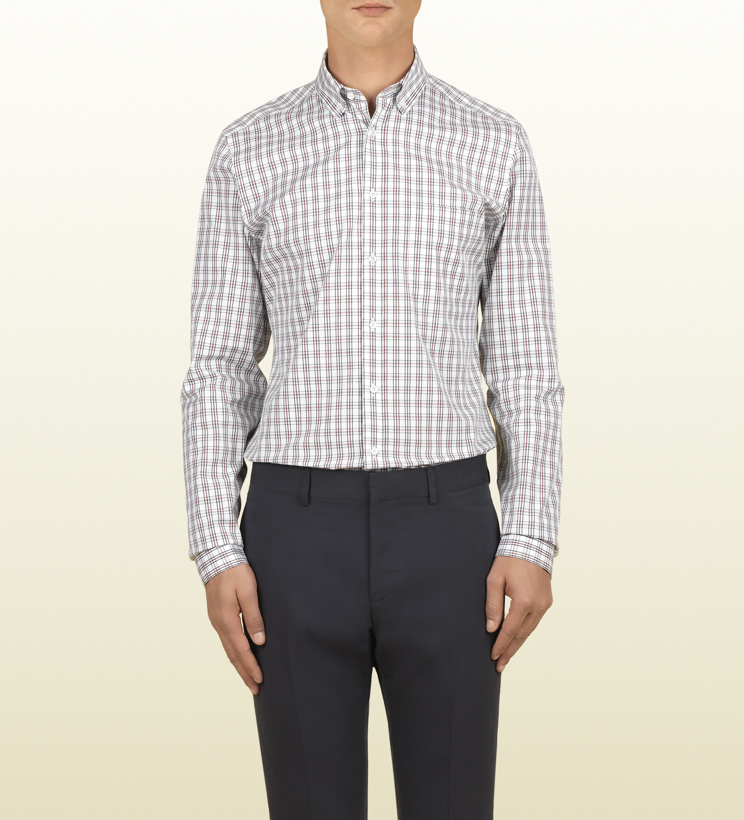 Gucci green and red web check slim shirt in red for men for Red and green checked shirt