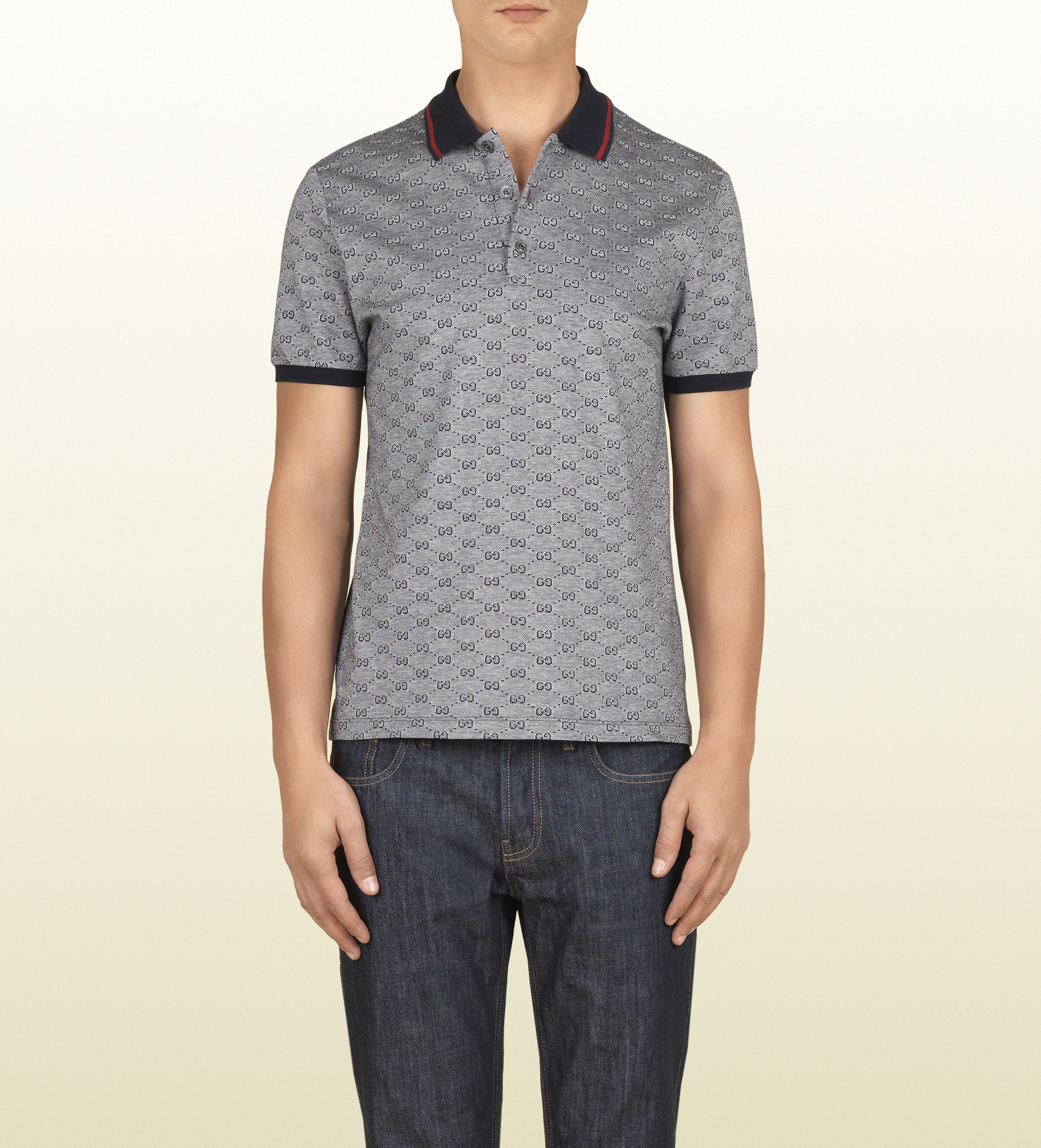 9c679d6c1638e Gucci Ink Pique Gg Jacquard Short Sleeve Polo in Gray for Men - Lyst