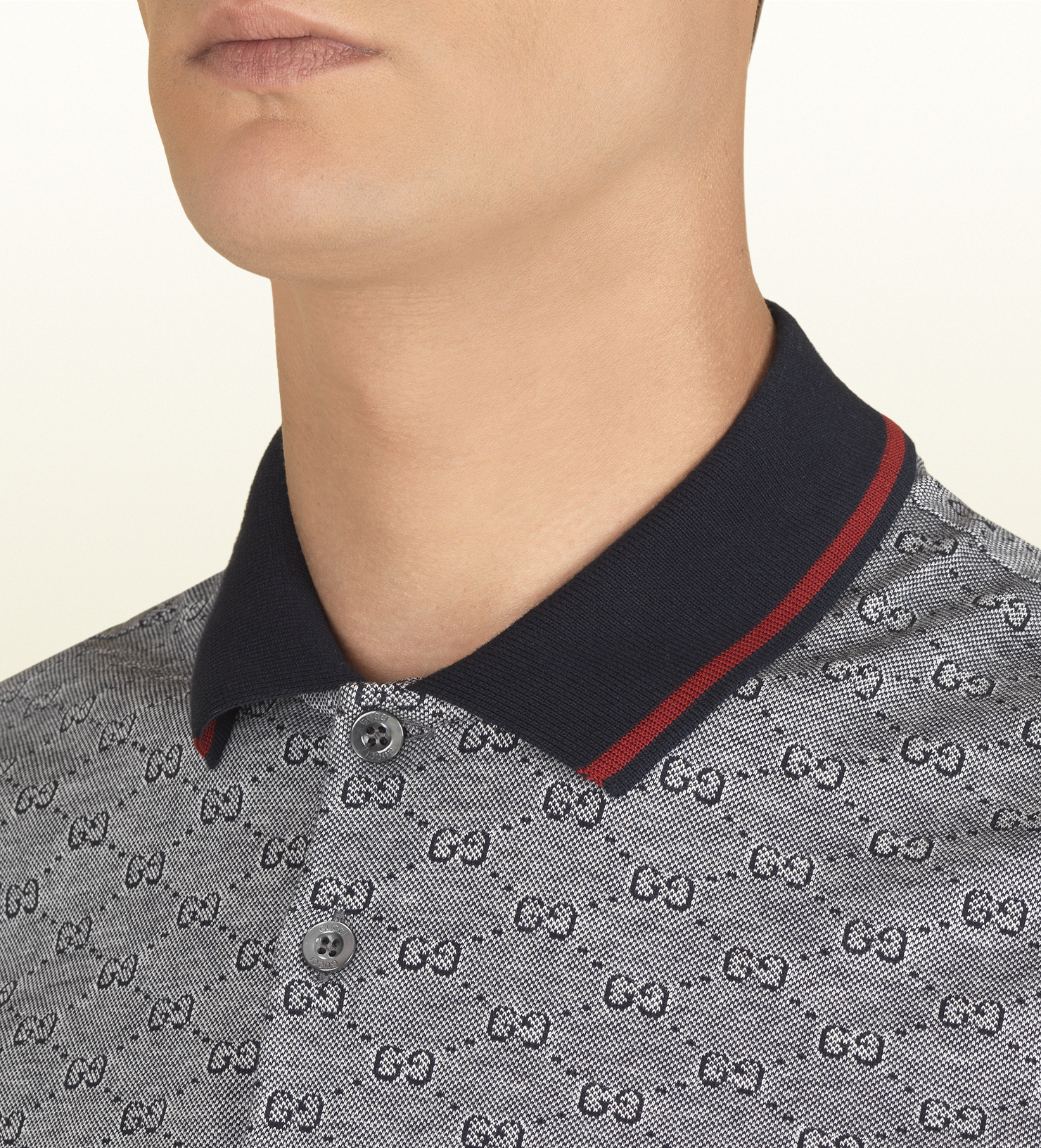 15b1a07c8 Gucci Ink Pique Gg Jacquard Short Sleeve Polo in Gray for Men - Lyst