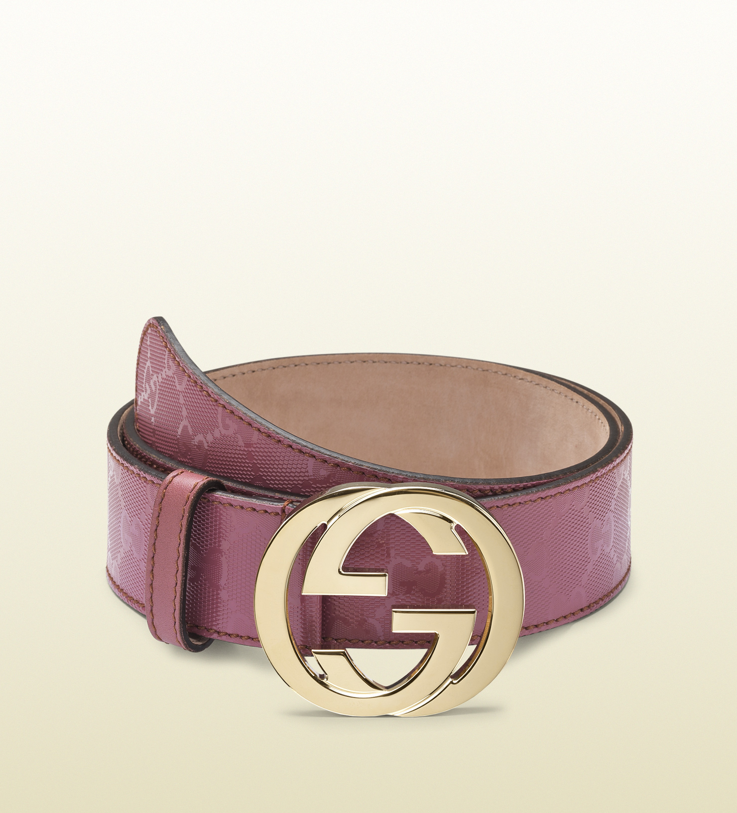 f55581034 ... Gucci Blet: Gucci Dark Pink Gg Imprimeé Belt With Interlocking