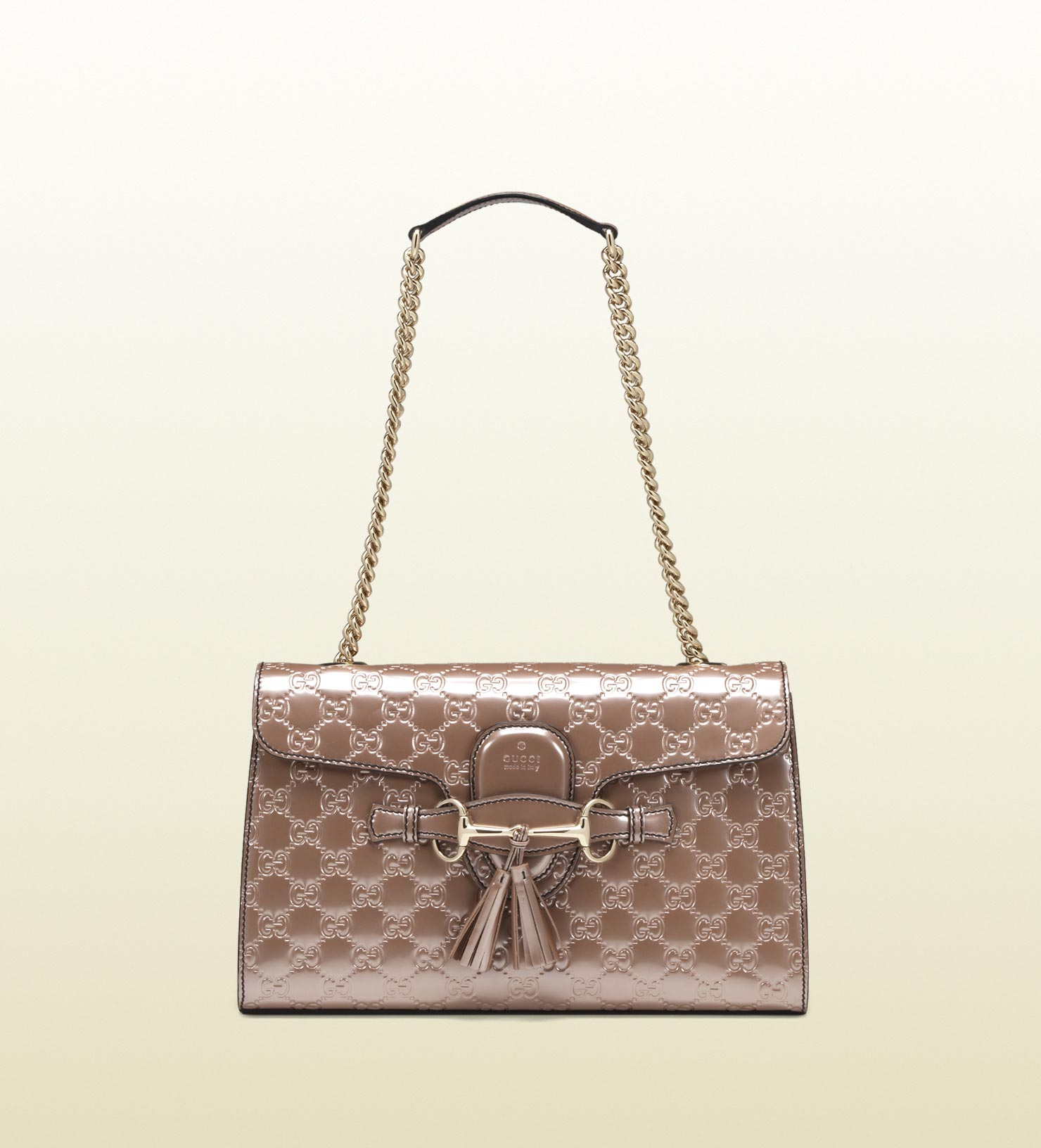 7f768dd940f Lyst - Gucci Emily Light Pink Shiny Microguccissima Chain Shoulder ...