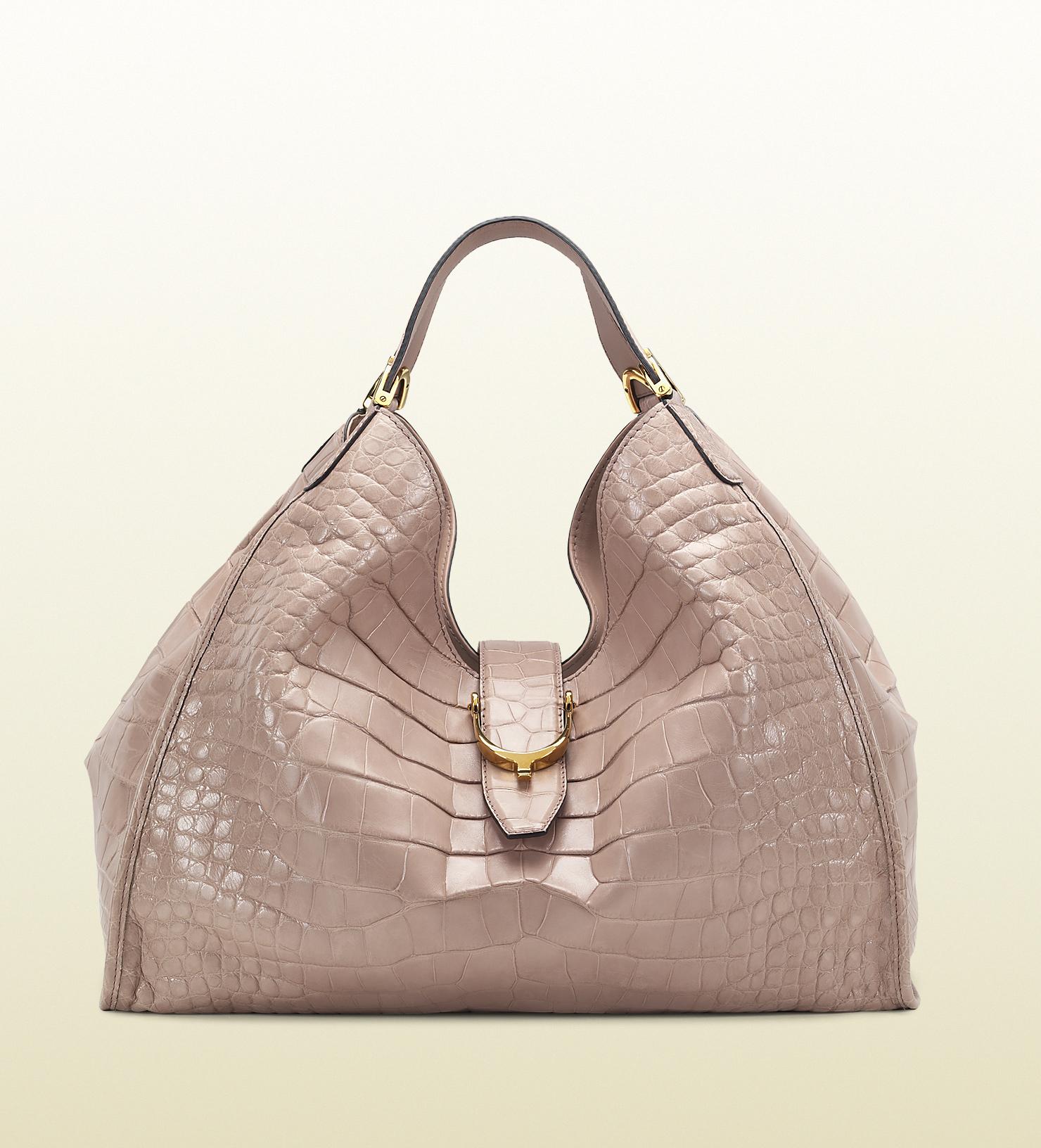 Lyst - Gucci Soft Stirrup Light Pink Crocodile Shoulder ...