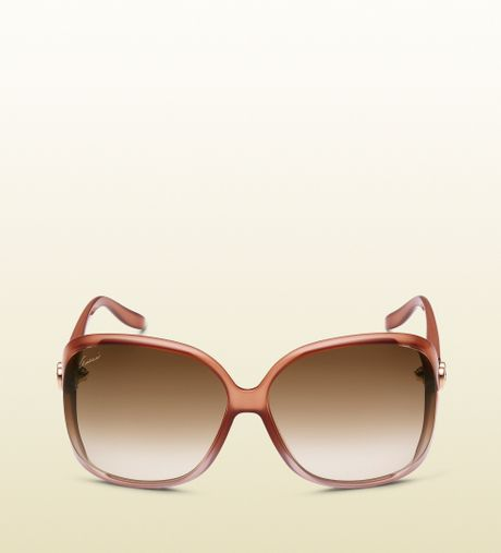 Gucci Womens Peach Pink Square Sunglasses in Brown (pink ...