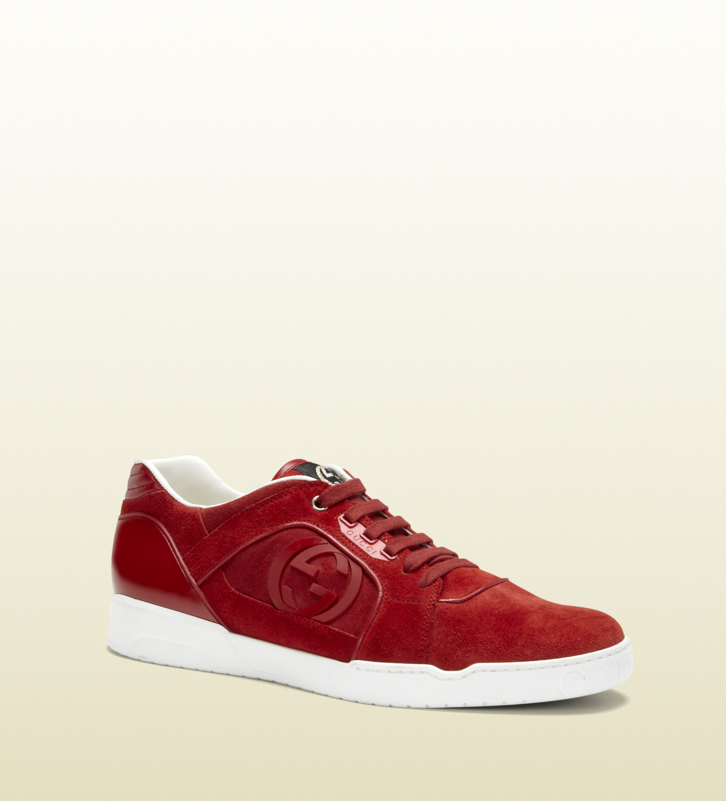 f9b3ffe072 Gucci Light Red Suede Laceup Sneaker for men