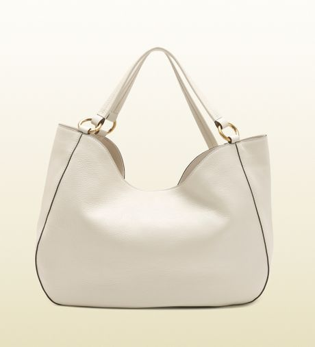 Gucci Twill Leather Large Shoulder Bag White 96