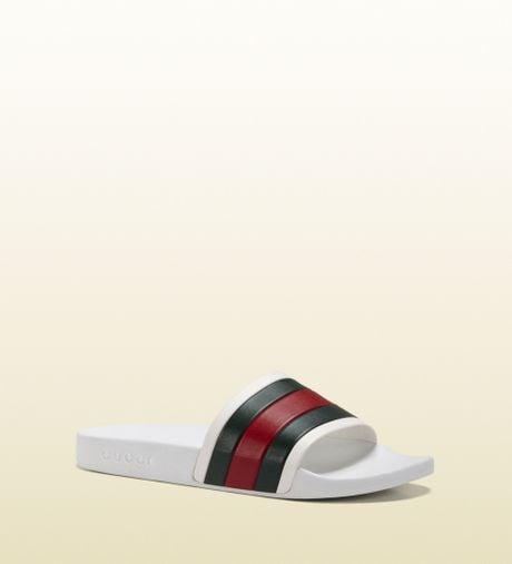 Gucci White Rubber Slide Sandal In White For Men Lyst