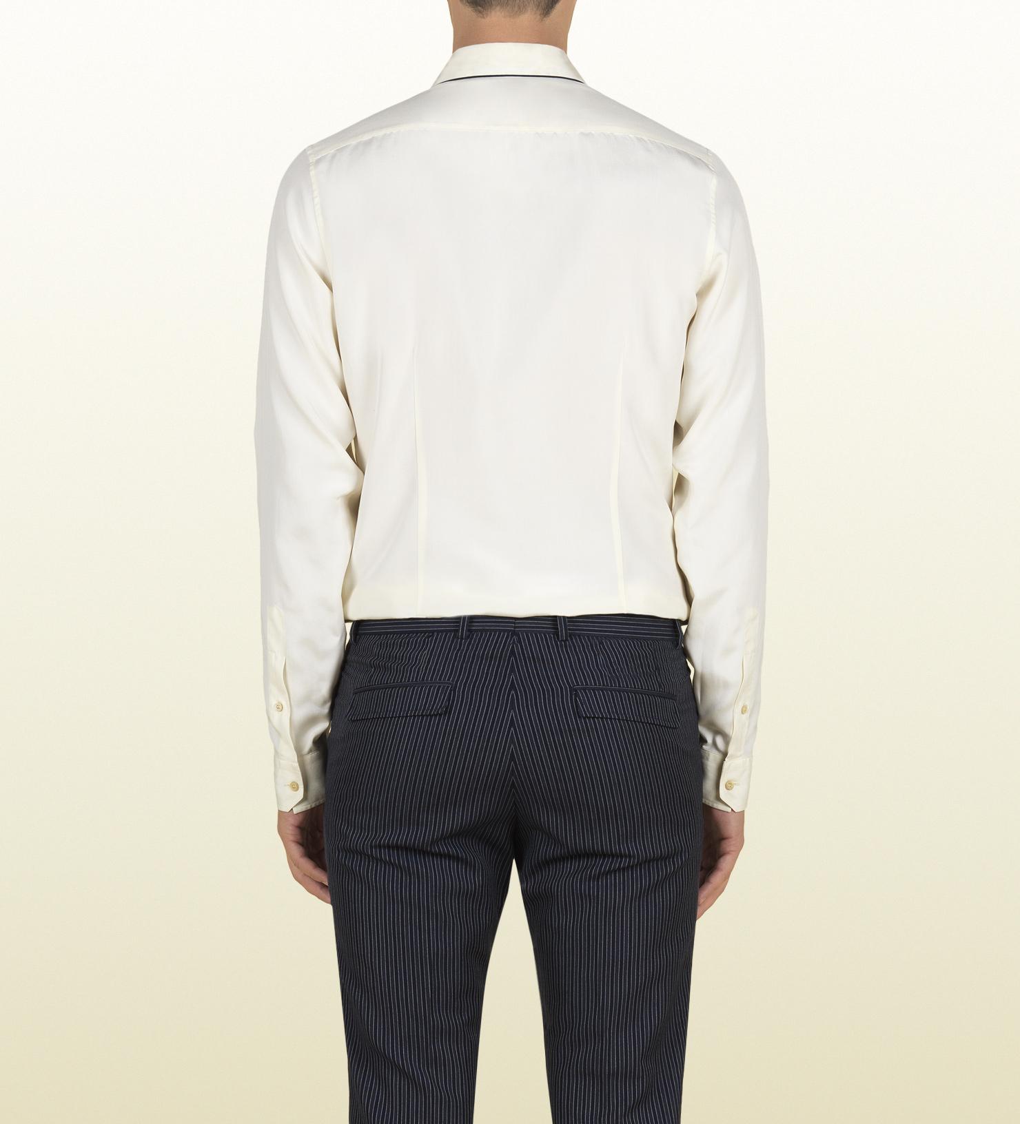 Lyst Gucci White Silk Poplin Skinny Shirt In White For Men