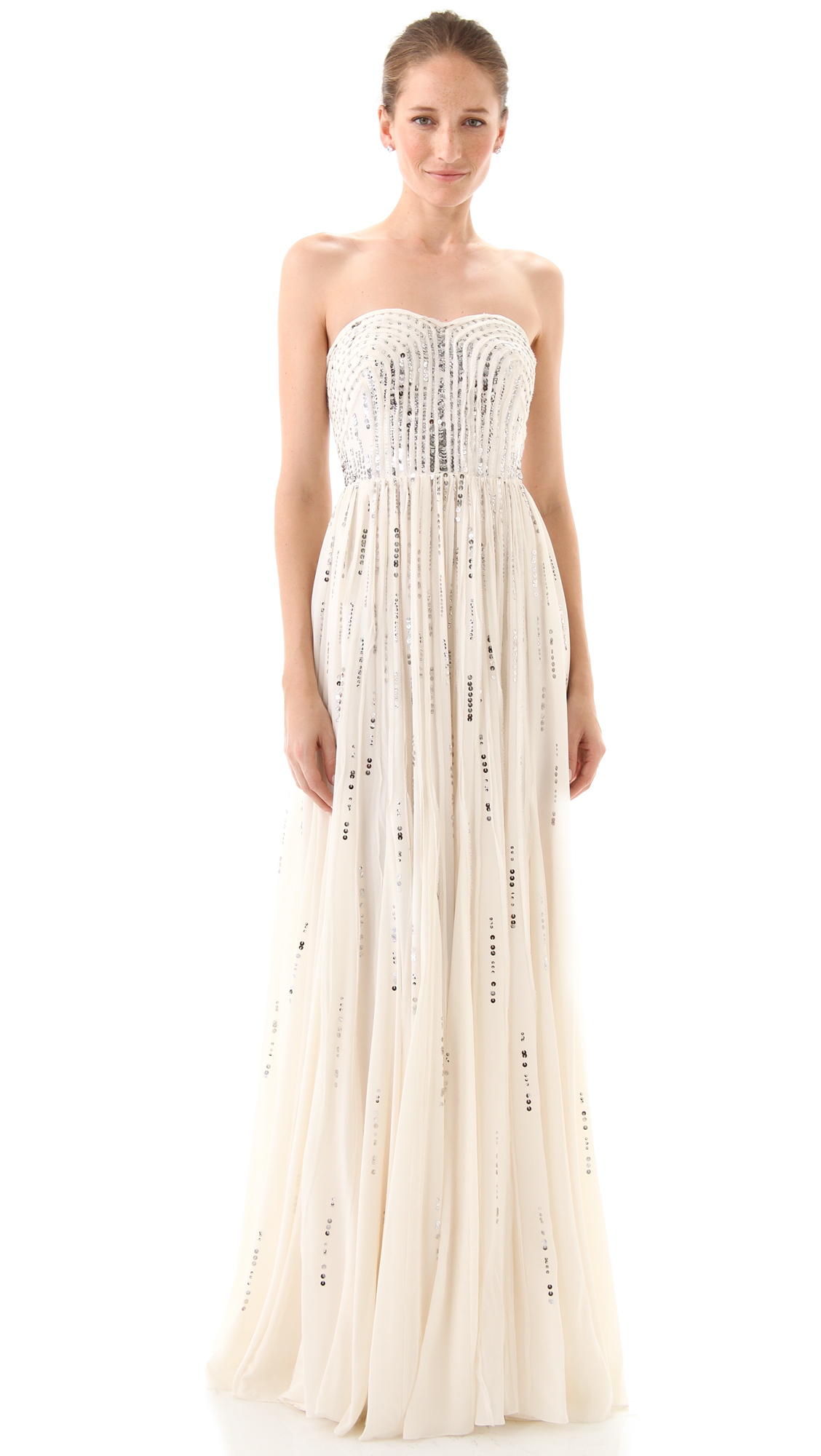 Lyst - Rebecca Taylor Frayed Strapless Gown in Natural