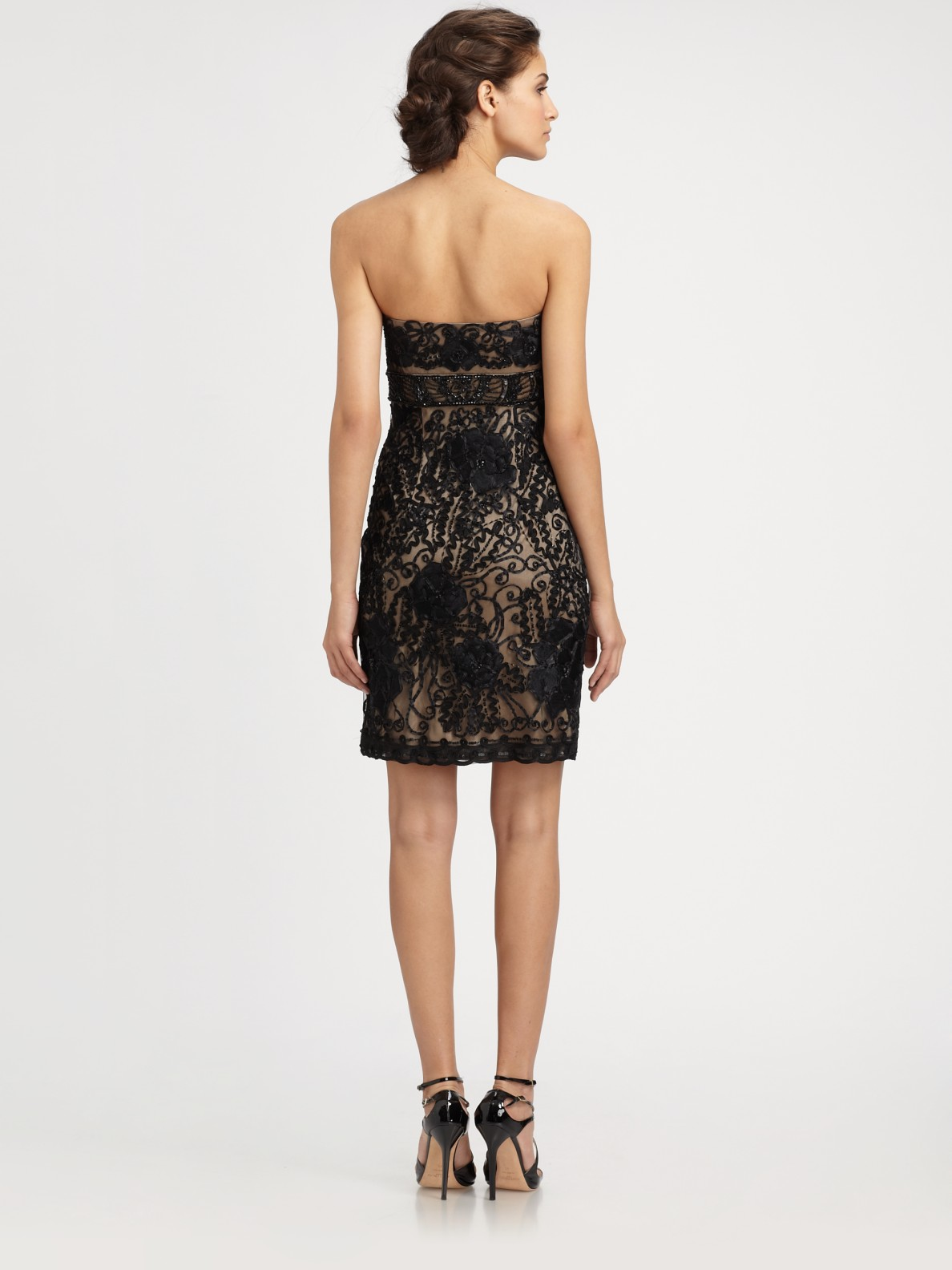 Sue wong Strapless Embroidered Dress in Black  Lyst