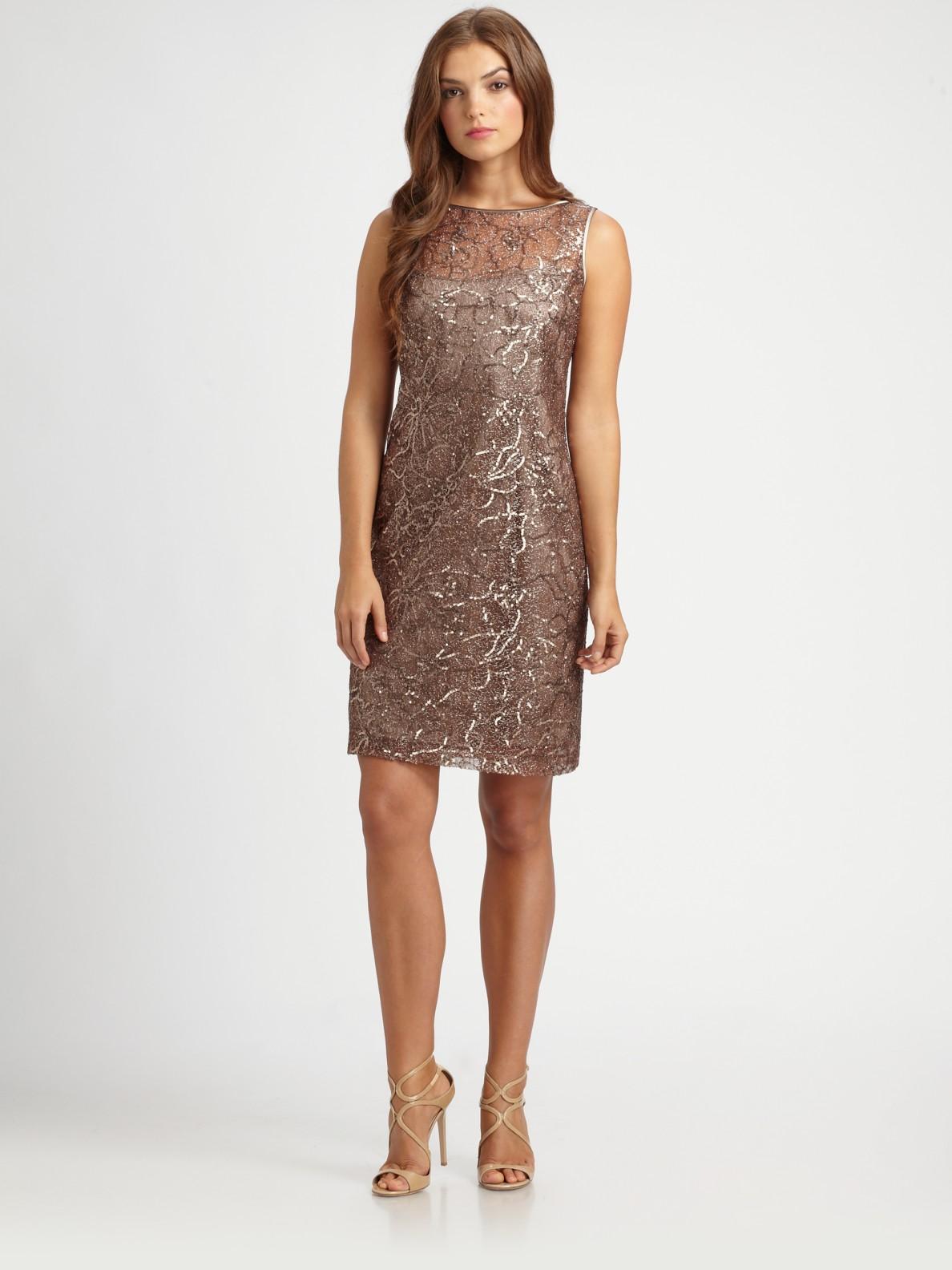 Lyst Teri Jon Sequined Dress In Metallic