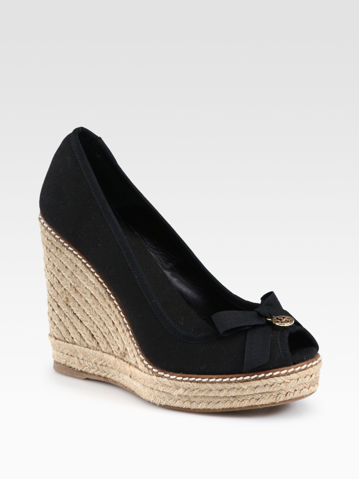 6c03c87536c Lyst - Tory Burch Jackie Canvas Espadrille Wedges in Black