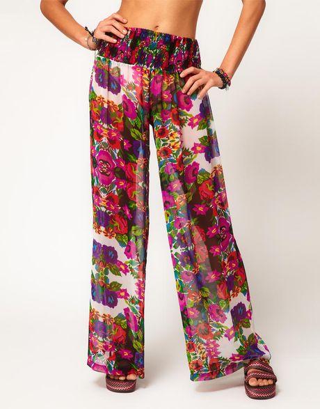 Asos Tapestry Floral Print Wide Leg Beach Pant in ...